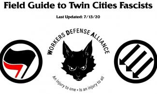Title page of the guide, including two antifascist logos (the red and black flags and the three downward arrows) and the WDA logo