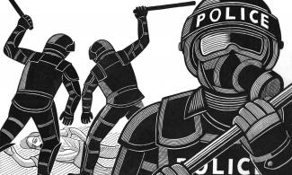 Illustration of police attacking a person lying on the ground